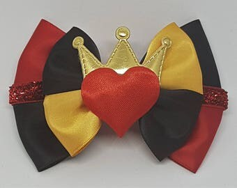 Queen Of Hearts Inspired Hair Bow | Alice In Wonderland Inspired Hair Bow | Disney Inspired Hair Bow | Disney Cosplay | Disneybound