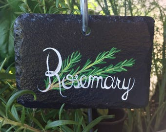 Rosemary Slate Herb Garden Marker - Stake Included
