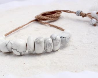 White Howlite Necklace, Gemstone beads with plaited waxed cord necklace, Adjustable ladies necklace, women's necklace, beach wear,