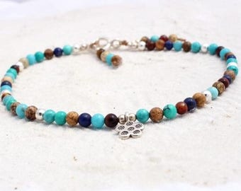 Gemstone, hill tribe silver and sterling silver anklet, anklet made with 4mm beads semi precious with your choice of hill tribe silver charm