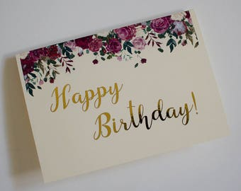 Floral happy birthday gold foil card