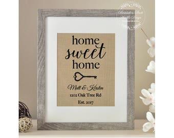 Home Sweet Home Burlap Print, Realtor Closing Gift, Housewarming Gift, Skeleton Key Print, Family Name Sign, First Home Gift