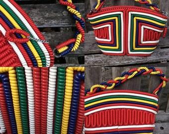 Fabulous Forties Multi Coloured Telephone Coil Vintage Handbag....RARE.. Vintage 1940's 40's