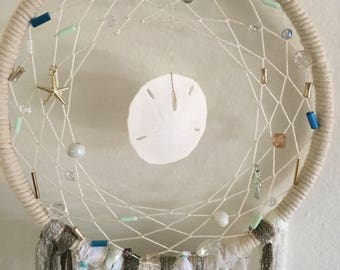 Sand Dollar Dreamcatcher with Blue, Gold and White