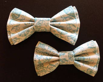 Bow Tie,Mens Bow Tie, Dad and Son Bow Ties, Bowtie, Father Son Bow Ties, Groomsmen Bow Tie, Blue Print Bow Tie,  Boys Bow Tie  DS737