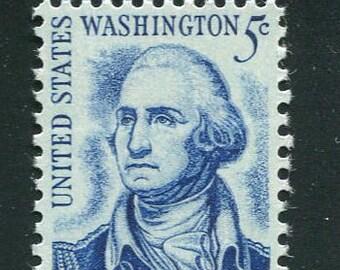 George Washington Stamps /10 Blue Unused Vintage 1960's Postage Stamps