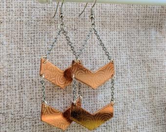 Copper Chevron Drop Earrings