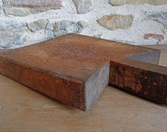 French cutting board, thick primitive antique wooden chopping block