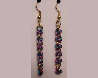 Pink & Blue Byzantine Weave Chainmail Earrings