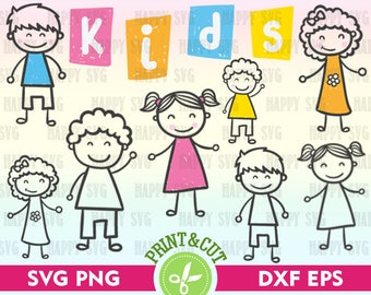 Stick Kids SVG, Stick Kids Clip Art, Stick Kids Silhouette, Kids Clipart, Stick Figure Svg, Stick People Svg, Stick Family Svg, Kids Digital