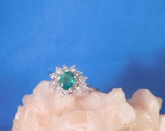 0.80 Ct. Oval Columbian Emerald and White Sapphire Ring Sterling Silver