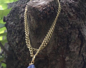 Blue agate Brass chain bracalet
