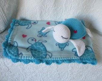 Turtle doll and turtle fleece blanket ~handmade