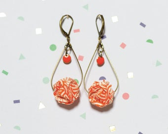 Origami Japanese paper, orange and white drop earrings