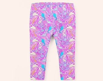 Pink Unicorn Girls Leggings, Unicorn Leggings, Kids Leggings, Unicorn Clothes, Girls Leggings, Pink Leggings, Unicorn Clothing