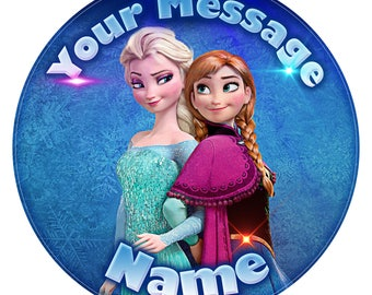 """Frozen Elsa and Anna Inspired Personalised Edible Icing. Birthday Cake Topper Decoration 7.5"""""""