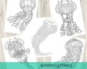 Tangled Tentacles, Jellyfish Coloring Page  5 Pack