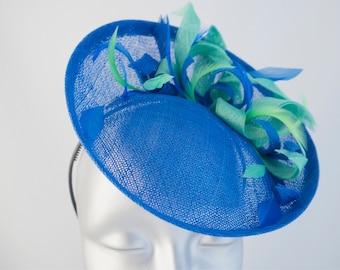 Bibi ceremonial headdress Hat royal blue Apple green