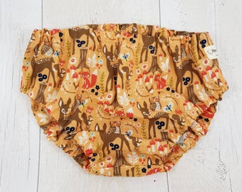 Girls nappy cover, baby diaper cover, baby bambi, 3 6 12 24 months, baby shower gift, baby toddler girls bloomers, autumn baby, fall baby