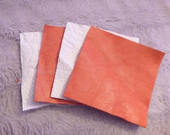 4 COUPONS LEATHER SQUARE RED WHITE AND DISTRESSED