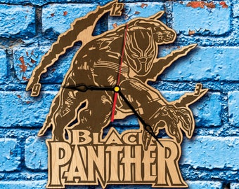 Black Panther Wall art Clock Black Panther Marvel black panther costume,  cosplay, helmet,  mask, black panther party, poster, suit