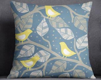 Leaf & Bird Printed Blue Pillow Case, Decorative Cushion Cover, Modern Cushion Cover, Cushion Cover Throw, Pillow Case, SUB-SAS145E