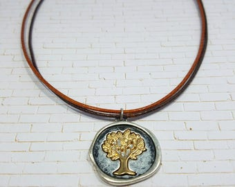 Leatherette Tree Pendant Necklace - TheHiddenBin