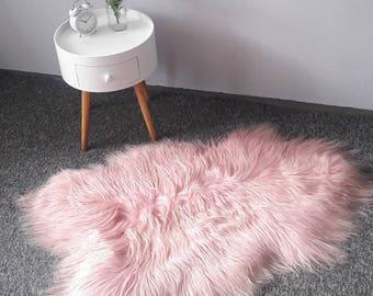 Sheepskin Rug. Pink Icelandic Sheepskin. Natural Pink Island Lambskin Rug. Super Soft and Silky Long Hair. 115 cm long !