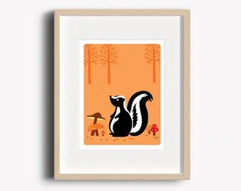 Skunk Art Print - Home Decor - Woodland Nursery - Skunk Print - Wall Art