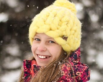 Yellow Chunky Knit Merino Wool Blizzard Beanie
