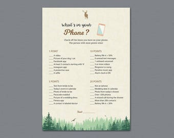 What's in your Phone Game Printable, Woodsy Theme, Whats on Your Phone, Bridal Shower Games, Trees, Moss, Wedding Shower Activity, A010