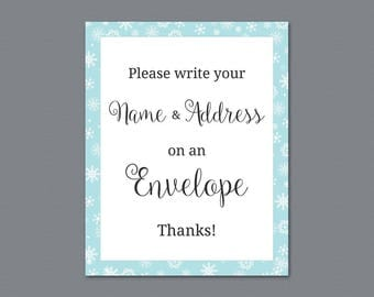 Name and Address Wedding Sign, Envelope Sign, Please Write Your Name and Address on the Envelope, Winter Snowflakes, Bridal Shower, A026
