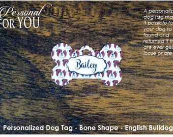Personalized Dog Tag - Bone Shape - English Bulldogs