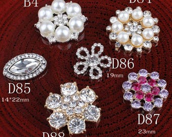 Vintage Handmade Metal Rhinestone Buttons Bling Alloy Crystal Flatback Flower Center Buttons for Hair accessories