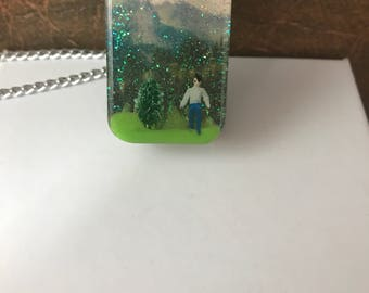Pendant , rectangle resin , little man