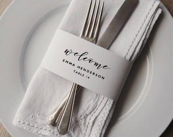 Napkin Wrap Place Card Template, Printable Wedding Place Cards, Napkin Ring Place Setting, Editable Wedding Place Cards Template - KPC01_208