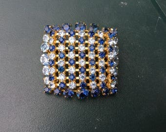 Stunning huge square vintage blue crystal square brooch