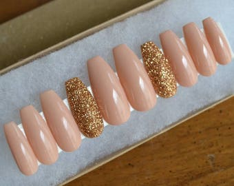Nude and gold press on nails | Any size or shape | Fake nails | glue on nails | False nails | Matte nails | Stiletto nails |