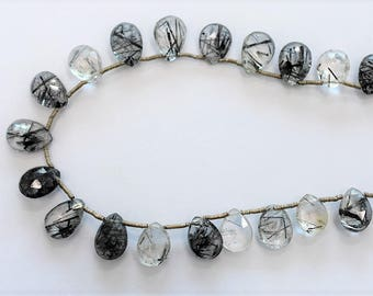 Rutilated Quartz / Black Rutile Faceted Pear Shape 8x10-9x11 MM, Side Drill / Top  Drill One Full Strand.