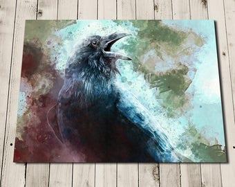 Raven Painting Print - Raven Art - Bird Lover Gift - Crow Painting - Gothic Art - Raven Art Print - Edgar Allan Poe - Raven Decor Wall Art