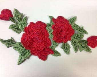 Red Rose flower embroidered appliqué