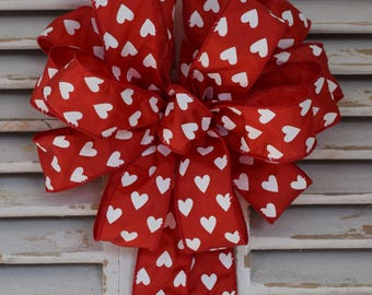 Valentine's Hearts Bow, Valentine's Day Bow, Red Valentine's Day Bow, White Hearts Bow, Wreath Bow, Decorative Bow, Gift Bow