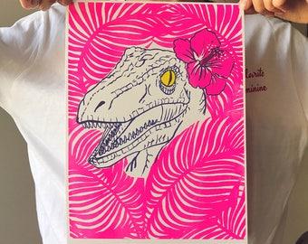 Clever Girl velociraptor riso print