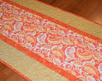 Fall Leaves Table Runner, Autumn Table Runner, Quilted Table Runner, Tan Table Runner, Gold Table Runner, Fall Runner, Fall Table Decor