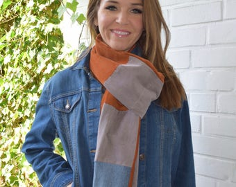 Pockets of Autumn Corduroy and Denim Pocket Scarf