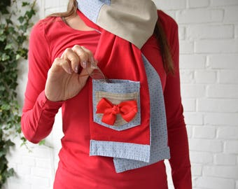 Cupid's Red Bow Cotton Pocket Scarf for Women Gift Scandalous Scarves