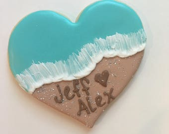 Beach engagment cookies
