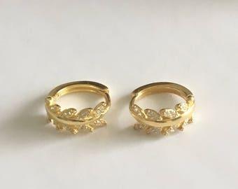 Leaf huggie. Leaf Hoop Earrings. Sterling Silver Cz earrings. Dainty Gold Vermeil Earrings
