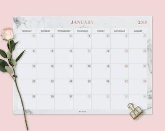 Wall calendar 2018, Desk pad, Printable desk calendar, 2018 Calendar Printable, Marble gold calendar, rose gold planner, marble calendar