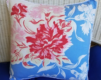 Vintage Red and Blue floral Pillow cover